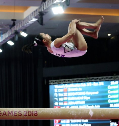 India's Dipa Karmakar in action during the women's balance beam final in Jakarta on Friday. REUTERS