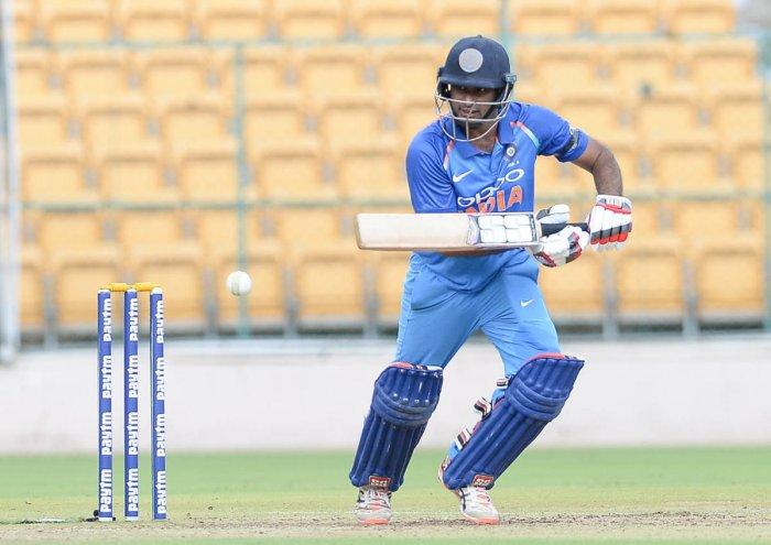 FINE KNOCK Ambati Rayudu of India 'A' en route to his unbeaten 62 against Australia 'A'. DH PHOTO/SATISH BADIGER