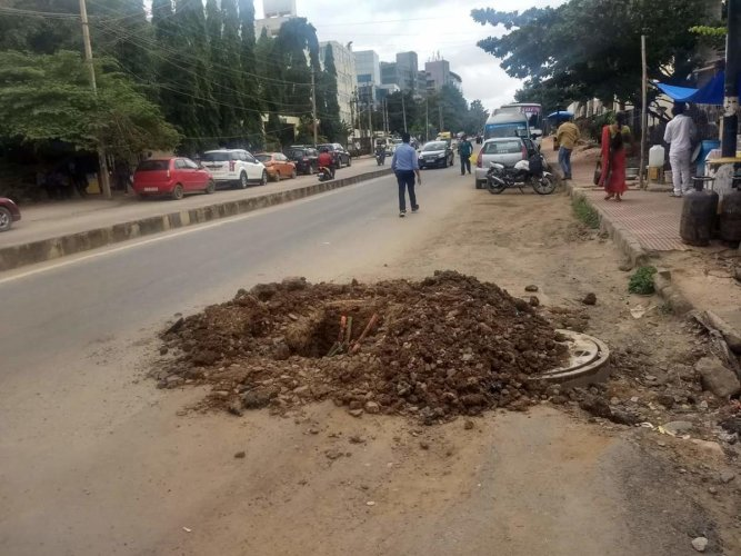 Newly laid roads dug up illegally at night to lay OFCs across Whitefield.