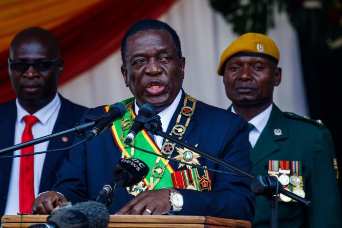 Emmerson Mnangagwa speaks during the Defence Forces Day celebrations held at the National Sports Stadium in Harare on August 14, 2018. AFP