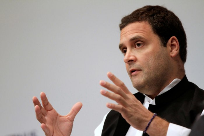 FILE PHOTO: Rahul Gandhi speaks at an event in Singapore March 8, 2018. Picture taken March 8, 2018. REUTERS/Thomas White/File Photo