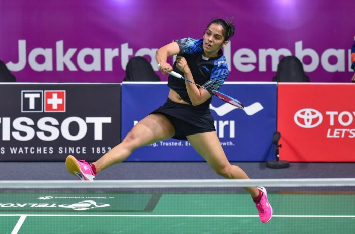 POWERFUL: Shuttler Saina Nehwal essays a smash during her match against Indonesia's Fitriani Fitriani in Jakarta on Saturday. PTI