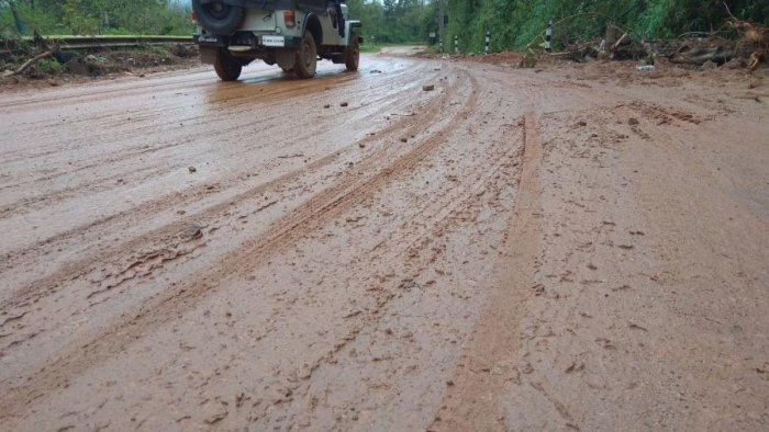 The highway leading to Madikeri is full of slush.