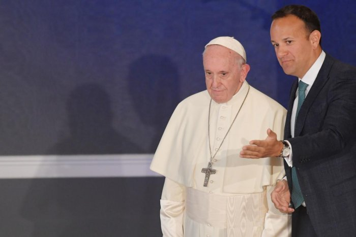 Ireland's Prime Minister Leo Varadkar shows the way to Pope Francis in St Patricks Hall in Dublin Castle in Dublin on August 25, 2018. AFP