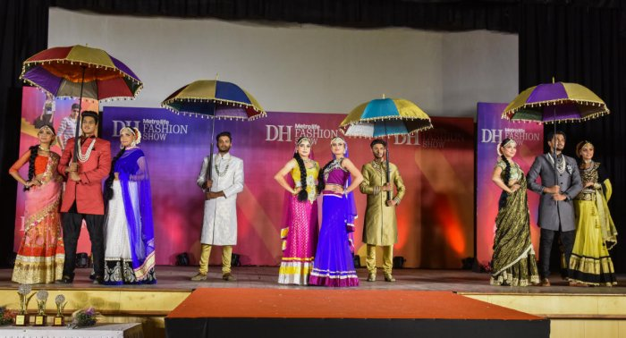 Students of Surana College who won the first prize at the Deccan Herald Metrolife inter-college Fashion Show in the first preliminary round at NMKRV College for Women on Saturday. DH photo/S K Dinesh