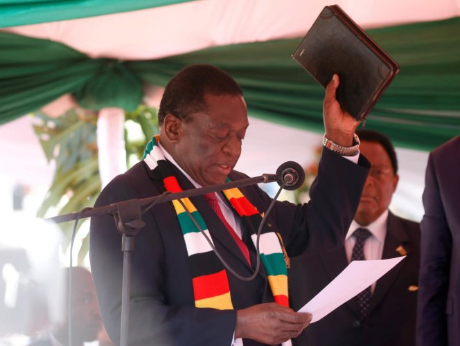 President Emmerson Mnangagwa is sworn in during his presidential inauguration ceremony in Harare, Zimbabwe, August 26, 2018. Reuters