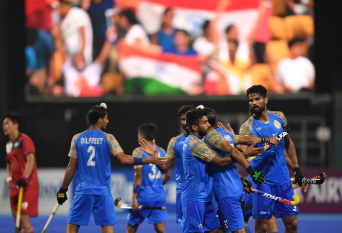 India's players celebrate after scoring a goal against South Korea during the men's hockey pool A match between India and South Korea at the 2018 Asian Games in Jakarta on August 26, 2018. AFP