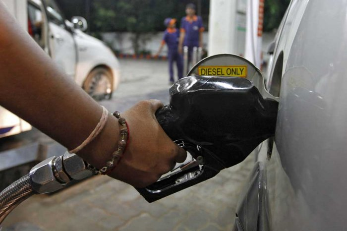Diesel price was on Monday hiked about 14 paise per litre