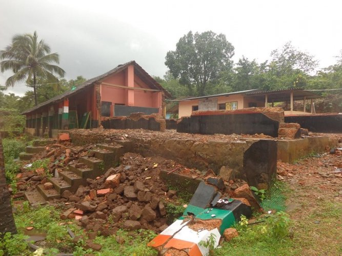 The collapsed classrooms of Patrame Government School near Uppinangady.