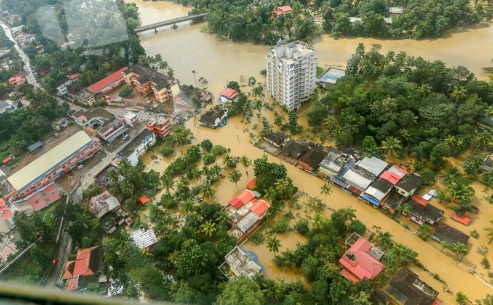 Flood affected areas of Chengannur seen from an Indian Navy helicopter, at Alappuzha district of Kerala. PTI file photo