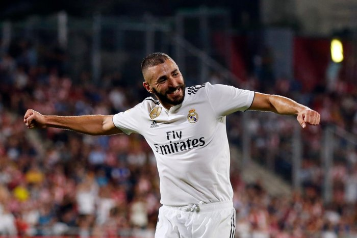 OVER THE MOON Real Madrid forward Karim Benzema celebrates his second goal against Girona FC on Sunday. AFP