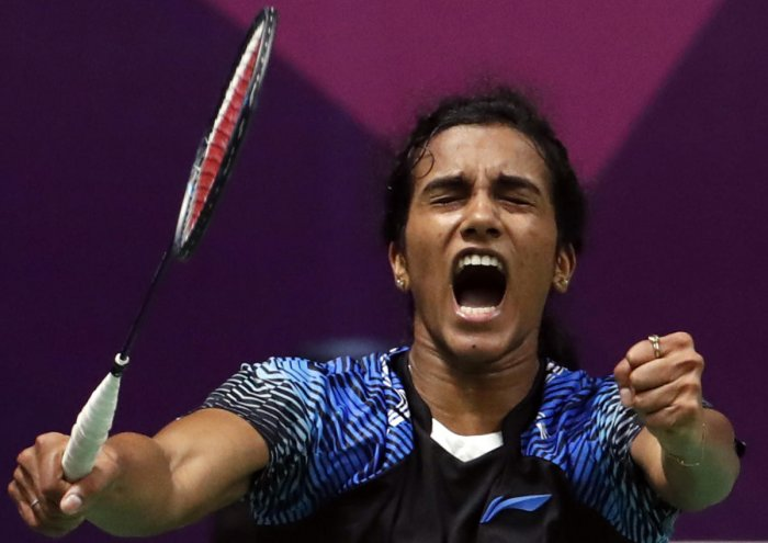 WAR CRY India's PV Sindhu celebrates after defeating Akane Yamaguchi in the women's singles semifinal on Monday. REUTERS