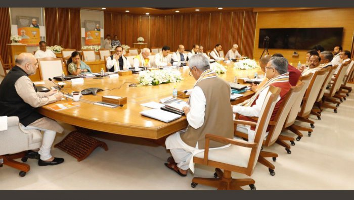 Amit Shah speaks during chief ministers' meet. (Photo credit: Twitter)