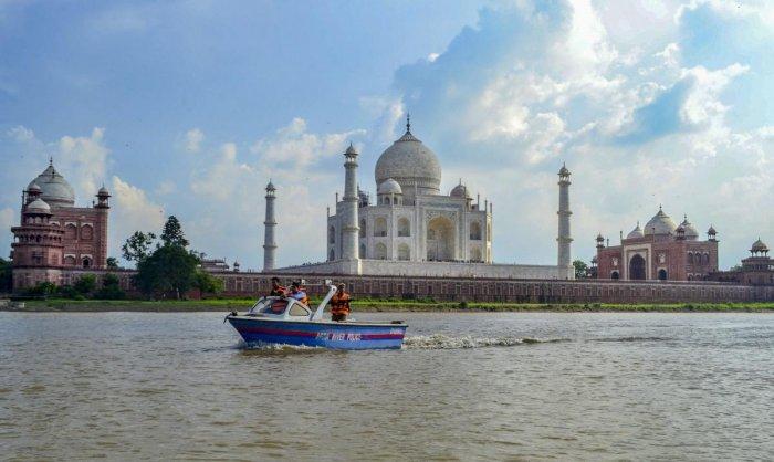 Agra River Police patrol across River Yamuna around Taj Mahal. PTI file photo