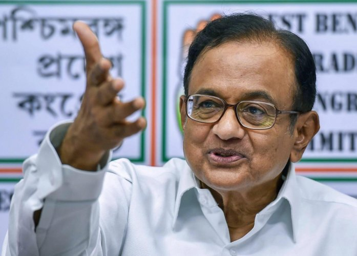Senior Congress leader P Chidambaram addresses a press conference at Pradesh Congress office in Kolkata. (PTI Photo)