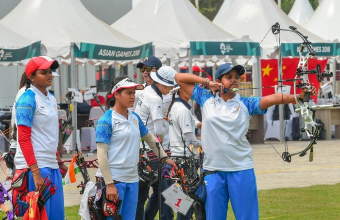 Indian archery team members compete in the women's compound team archery final match against Korea at the Asian Games 2018, in Jakarta on Tuesday, August 28, 2018. (PTI Photo)
