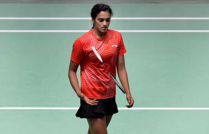 India's Pusarla V Sindhu reacts in disappointment after losing the women's singles badminton final match against Chinese (TPE) player Tai Tzu Ying at the 18th Asian Games in Jakarta, Indonesia on Tuesday, Aug 28, 2018. Sindhu lost the match 13-21, 17-21.(