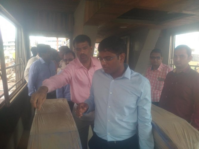 NWKRTC and HDBRTSCL MD Rajendra Cholan inspects BRTS bus station in Hubballi on Tuesday.