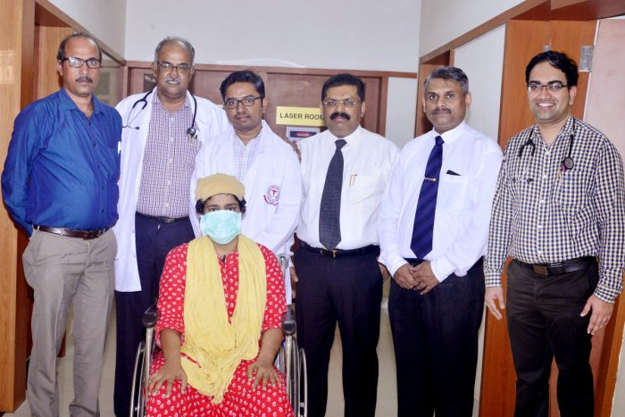 The doctors of Justice K S Hegde Charitable Hospital along with a patient.