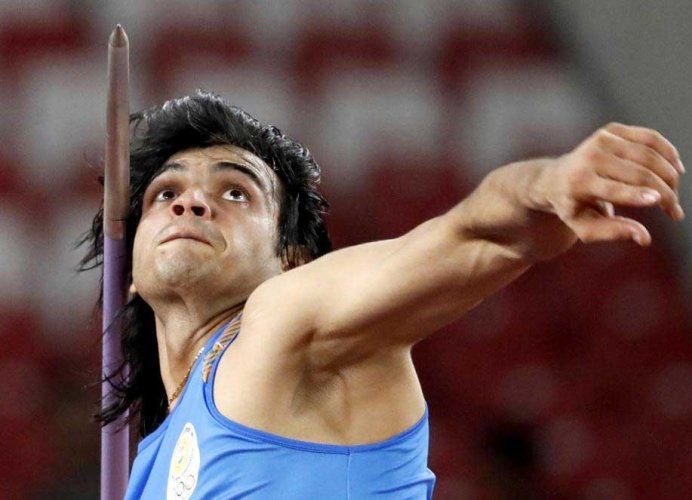India's Neeraj Chopra competes in the final of the men's javelin throw at the Asian Games in Jakarta on Monday. Reuters