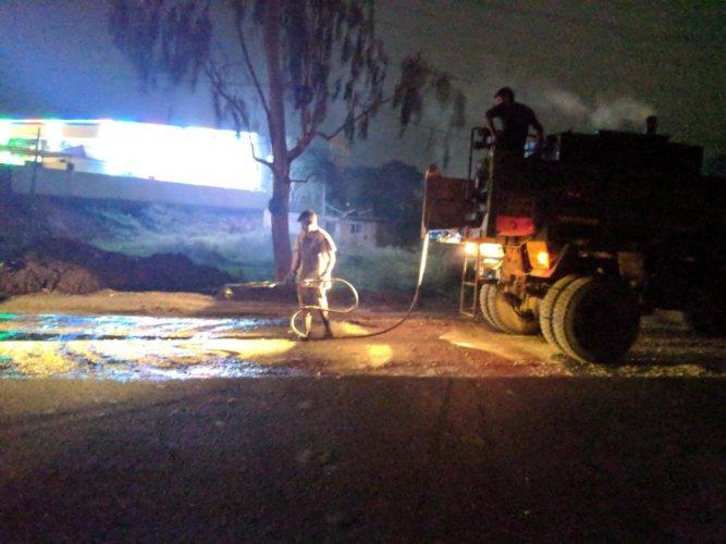 The mechanised sweeper in action at Kundalahalli area near Whitefield in Mahadevapura zone.