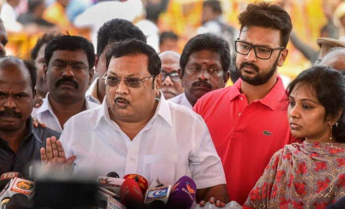 Former Union minister M K Alagiri addresses the media after paying homage to his late father and DMK patriarch M Karunanidhi at his memorial on Marina Beach. (PTI File Photo)