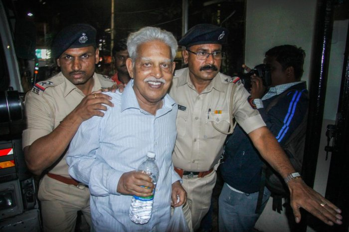 Revolutionary writer P Varavara Rao, arrested in connection with the Bhima Koregaon case, being produced at a court in Pune on Wednesday, Aug 29, 2018. (PTI Photo)
