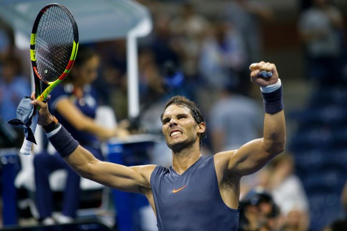 Spain's Rafael Nadal celebrates after defeating Canada's Vasek Pospisil (off frame) during their men's singles tennis match on day 3 of the 2018 US Open at USTA Billie Jean King National Tennis Center in New York on August 29, 2018. (AFP Photo)