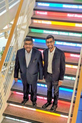 IT Minister Ravi Shankar Prasad with Google CEO Sundar Pichai at Google's headquarters. (PTI photo)