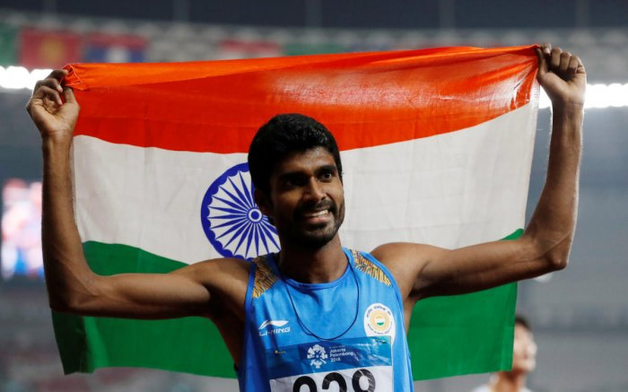India's Jinson Johnson celebrates after the race. (Reuters Photo)