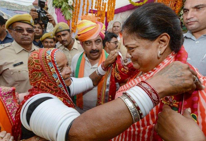 Rajasthan Chief Minister Vasundhara Raje during her 'Rajasthan Gaurav Yatra' near Jalore on Friday. PTI