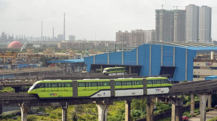 A monorail during a trial run as it restarts operation after being shut down due to a fire in November 2017, in Mumbai on Thursday, Aug 30, 2018. (PTI Photo)