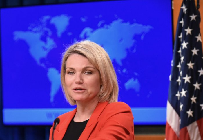 (FILES) In this file photo taken on May 29, 2018 US State Department spokesperson Heather Nauert speaks during the release of the international religious freedom report at the State Department in Washington, DC. AFP