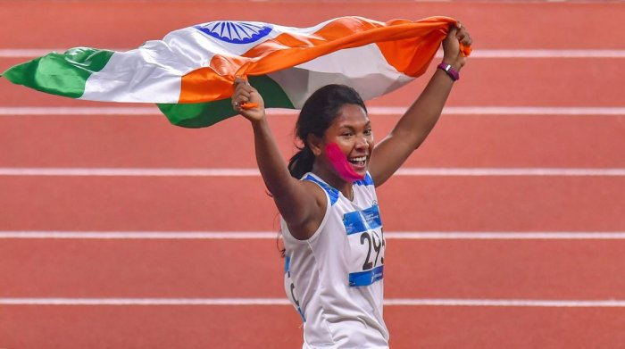 Swapna Barman celebrates after winning the gold medal in the women's Heptathlon event at the 18th Asian Games, in Jakarta, Indonesia on Wednesday, Aug 29, 2018. (PTI Photo/Shahbaz Khan)
