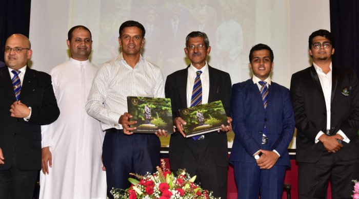 (From left) Corporate lawyer Siddharth Raja, Fr Adrin, former cricketer Rahul Dravid, George De Nazareth of G N Properties, Vinay Jain and photographer Mohit M Damani at the release of 'A Hundred Years: A Million Memories' coffee table book to kick-start
