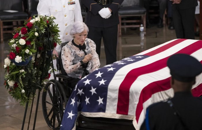 Roberta McCain, the 106-year-old mother of Sen. John McCain of Arizona, stops at his flag-draped casket in the U.S. Capitol rotunda during a farewell ceremony, Friday, Aug. 31, 2018, in Washington. (AP/PTI Photo)