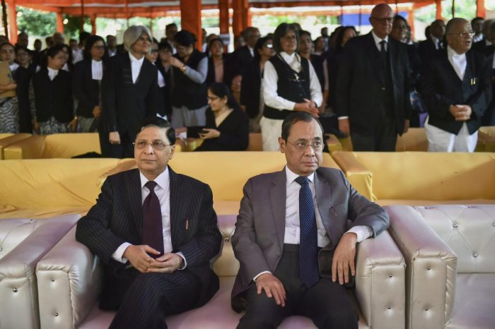 Chief Justice of India Justice Dipak Misra (L) with Supreme Court Judge Justice Ranjan Gogoi. PTI file photo.