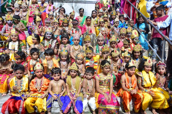 Children take part in Krishna Vesha competition, organised by Kalkura Pratishthana at Kadri Manjunatha Temple on Sunday. DH PHOTO