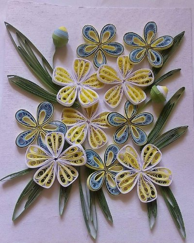 Apoorva uses handmade quilling paper to make intricate designs.