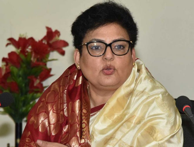 """National Commission for Women (NCW) chairperson Rekha Sharma said on Saturday everybody has the right to raise their demands, but """"I do not think there is a need for a men's commission"""". (DH File Photo)"""