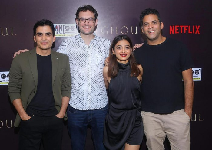 "(L-R) Actor Manav Kaul, director Patrick Graham, actor Radhika Apte and co-producer Vikramaditya Motwane at Netflix horror series ""Ghoul"" special screening, in New Delhi. (PTI Photo)"