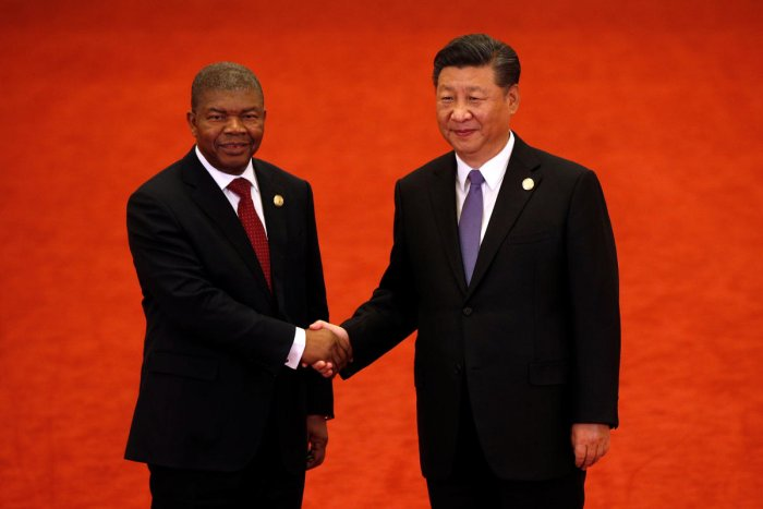 Angola's President Joao Lourenco, left, shakes hands with Chinese President Xi Jinping during the Forum on China-Africa Cooperation held at the Great Hall of the People in Beijing. Reuters photo