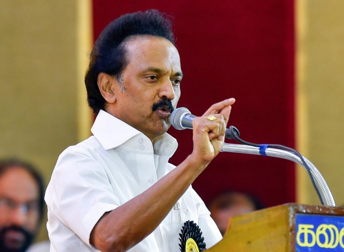 DMK Working President M K Stalin addresses during the party's General Council Meeting at Anna Arivalayam in Chennai on Tuesday, Aug 28, 2018. Stalin was unanimously elected as the party President at the meeting. PTI