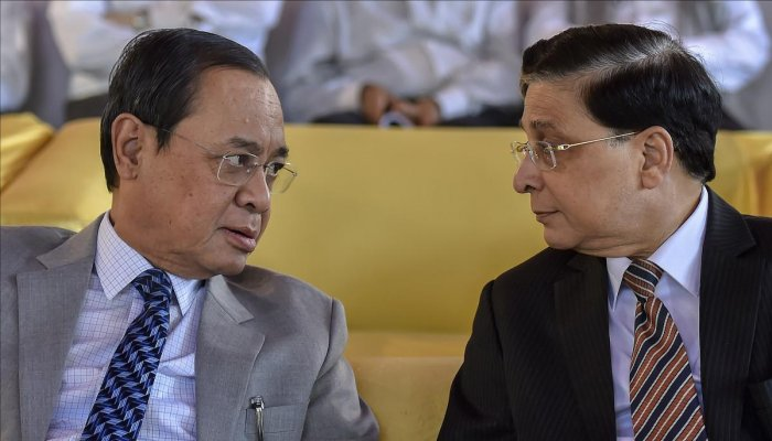 Chief Justice of India Justice Dipak Misra (R) and Justice Ranjan Gogoi. PTI File Photo