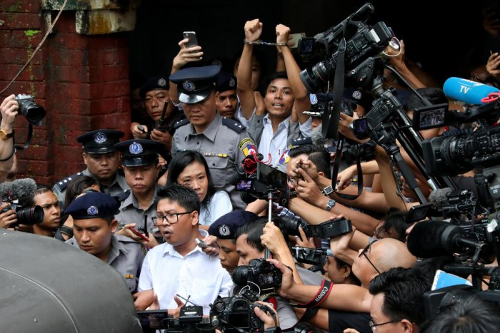 Journalists Wa Lone, 32, and Kyaw Soe Oo, 28, were arrested while reporting on atrocities committed during the violent expulsion by the military of some 700,000 Rohingya Muslims last year. Reuters Photo