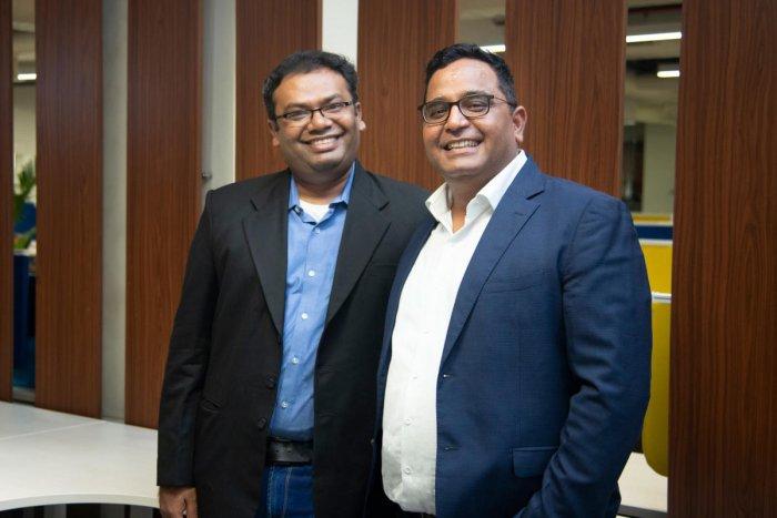 Paytm Founder and CEO Vijay Shekhar Sharma along with Paytm Money Whole-time Director Pravin Jadhav.