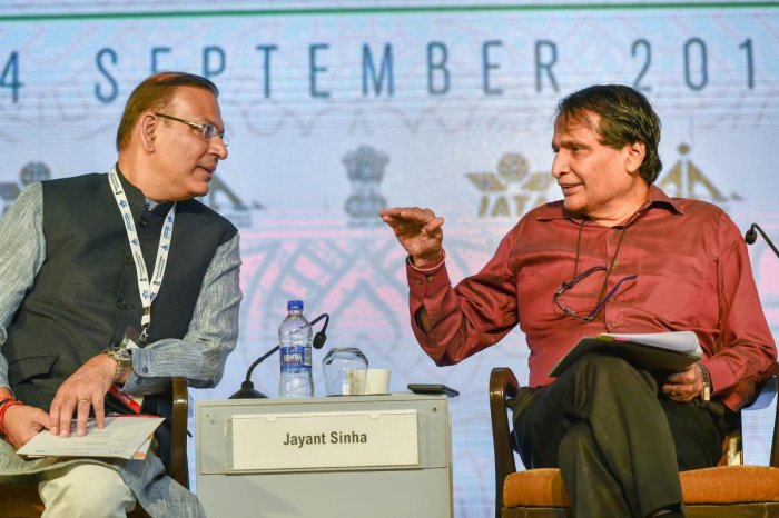 Union Civil Aviation Minister Suresh Prabhu with Minister of State Jayant Sinha at the 'International Aviation Summit: Positioning India for Global Aviation Leadership' in New Delhi. (PTI Photo)