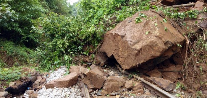 A boulder slipped on the railway track on the Sakleshpur-Subramanya stretch, in Hassan, affecting train services.