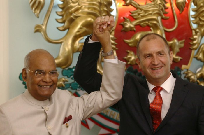 President Ram Nath Kovind and Bulgarian President Rumen Radev hold hands as the gesture during a joint news conference in Sofia, Bulgaria. Reuters Photo