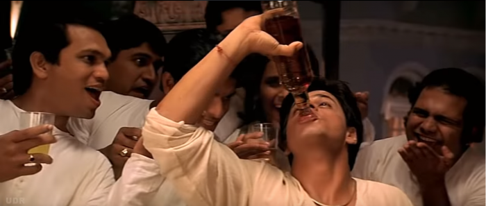 Shah Rukh Khan as the booze-loving Devdas.